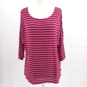 🐝 3/$25  Ambrielle Top Pink Striped 3/4 Sleeve M